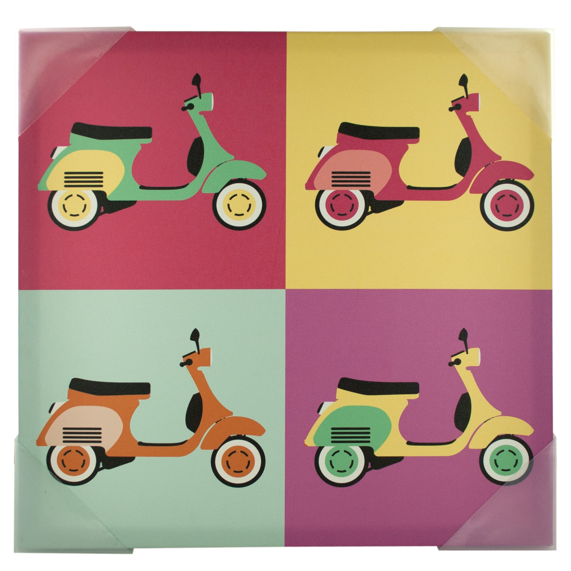 Vintage SCOOTERs Pop Art Canvas Wall Art- Qty 8