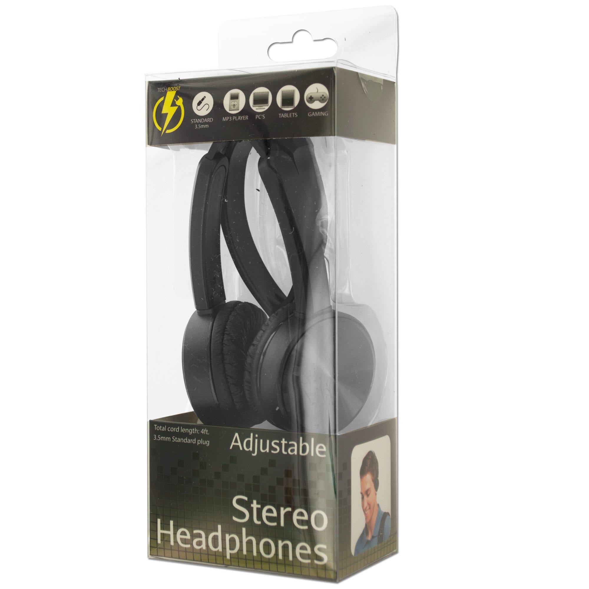 Black Adjustable Stereo HEADPHONES- Qty 6