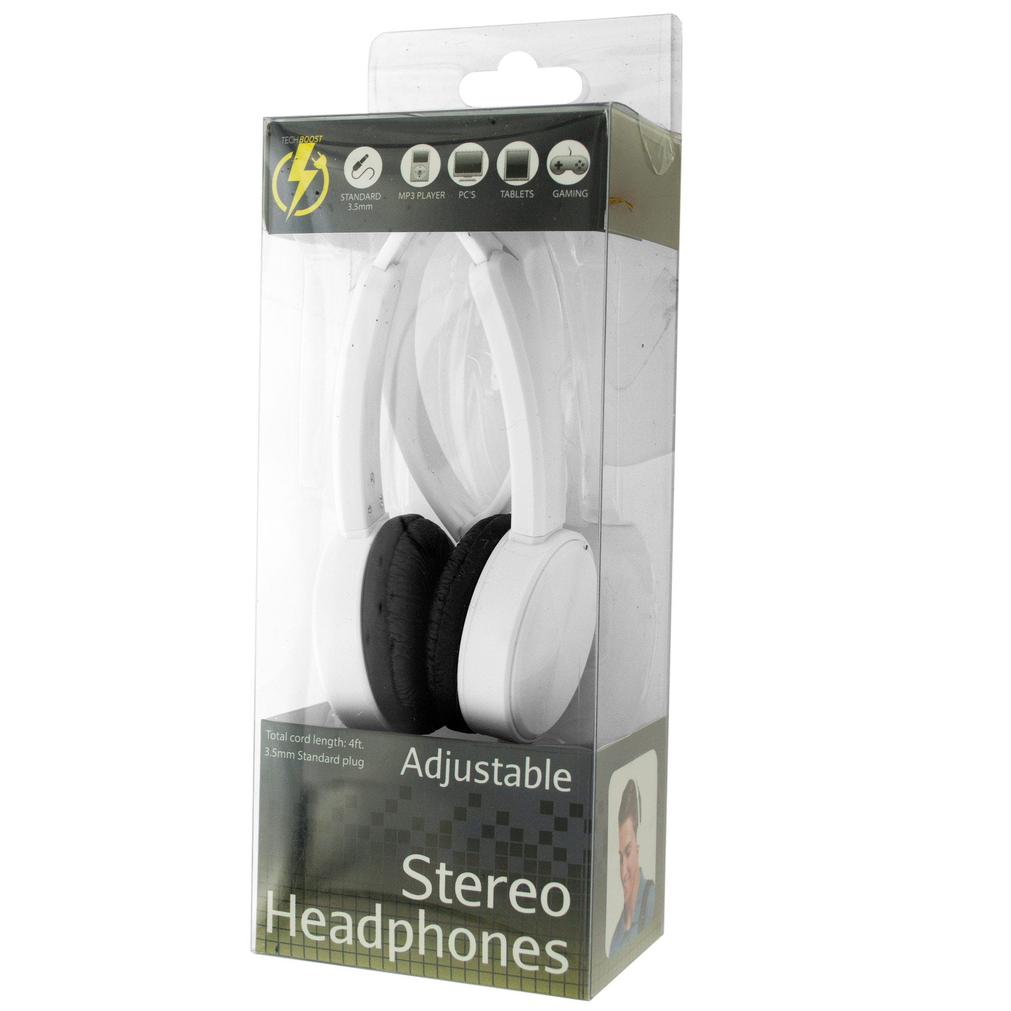 White Adjustable Stereo Headphones- Qty 6