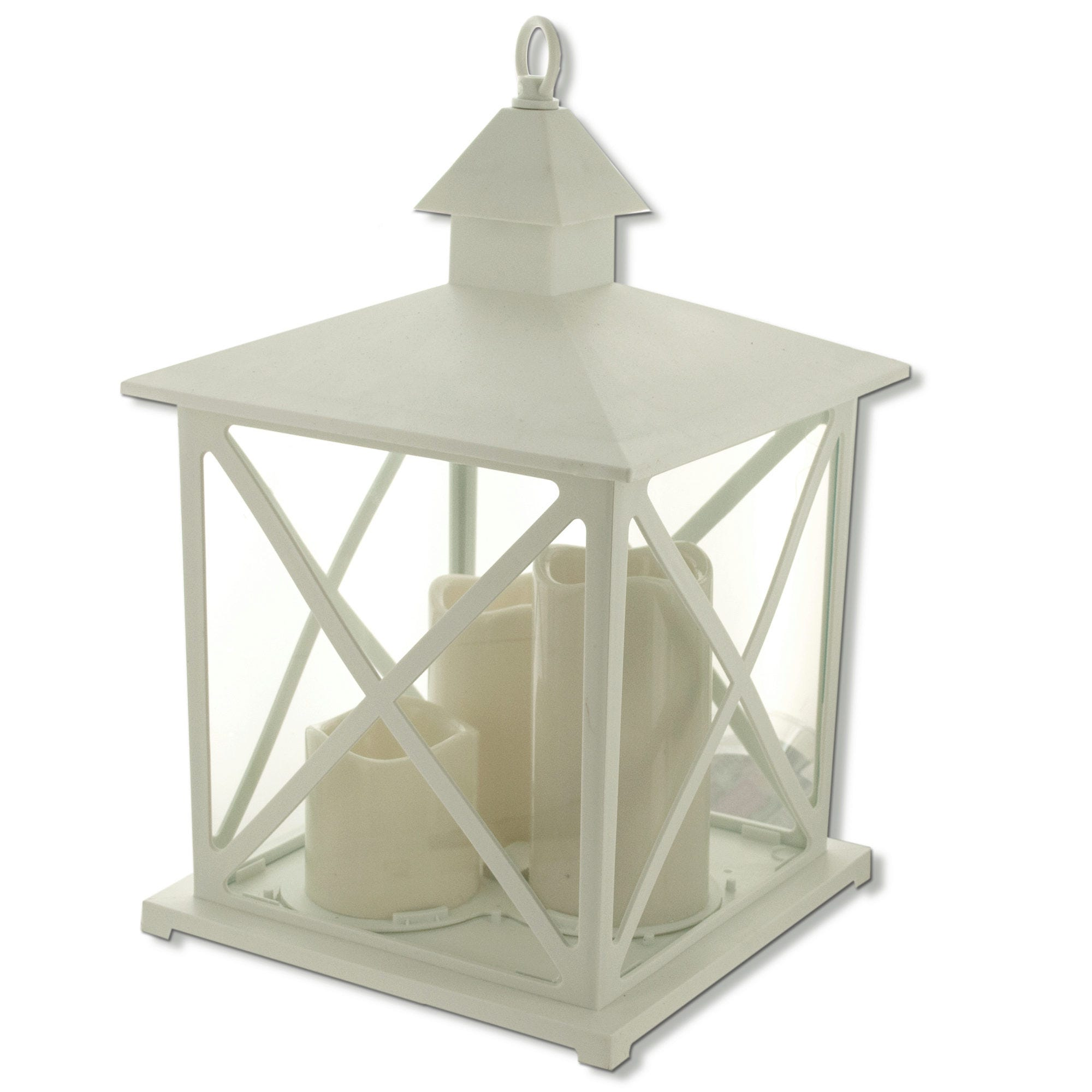 Large Decorative Flameless LED Lantern with 3 CANDLEs- Qty 4