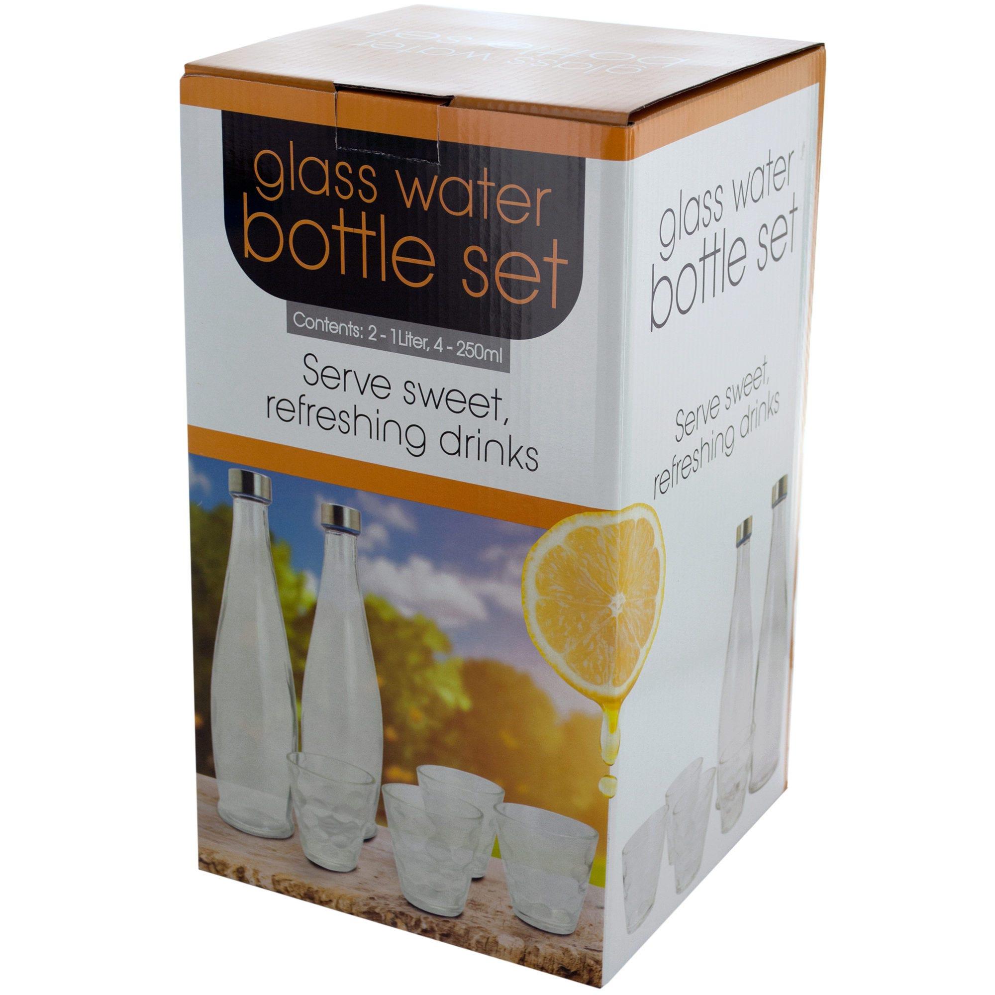 33.8 oz. Glass Water Bottles & 8.5 oz. GLASSES Set- Qty 4