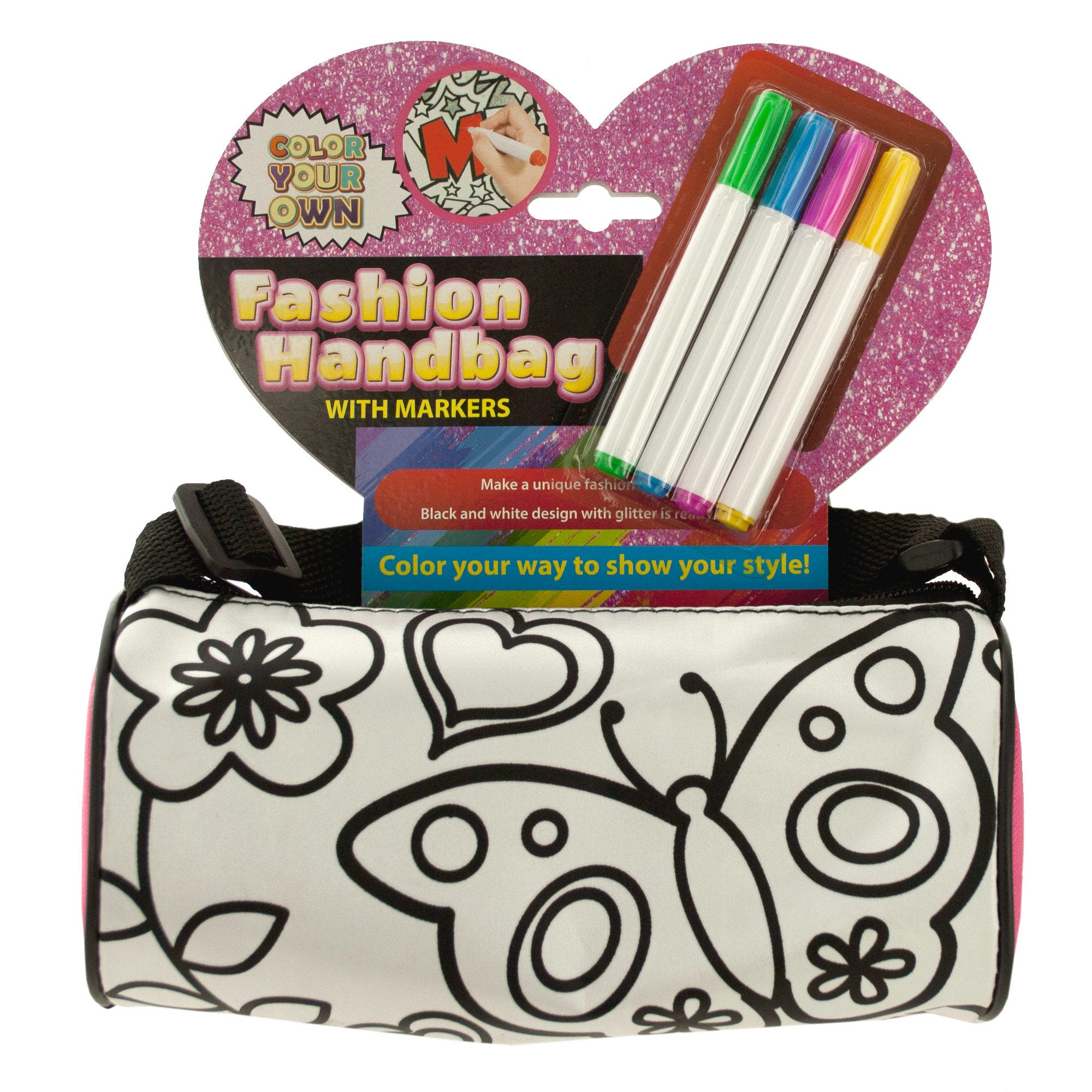 Color Your Own Fashion Roll HANDBAG with Markers- Qty 6