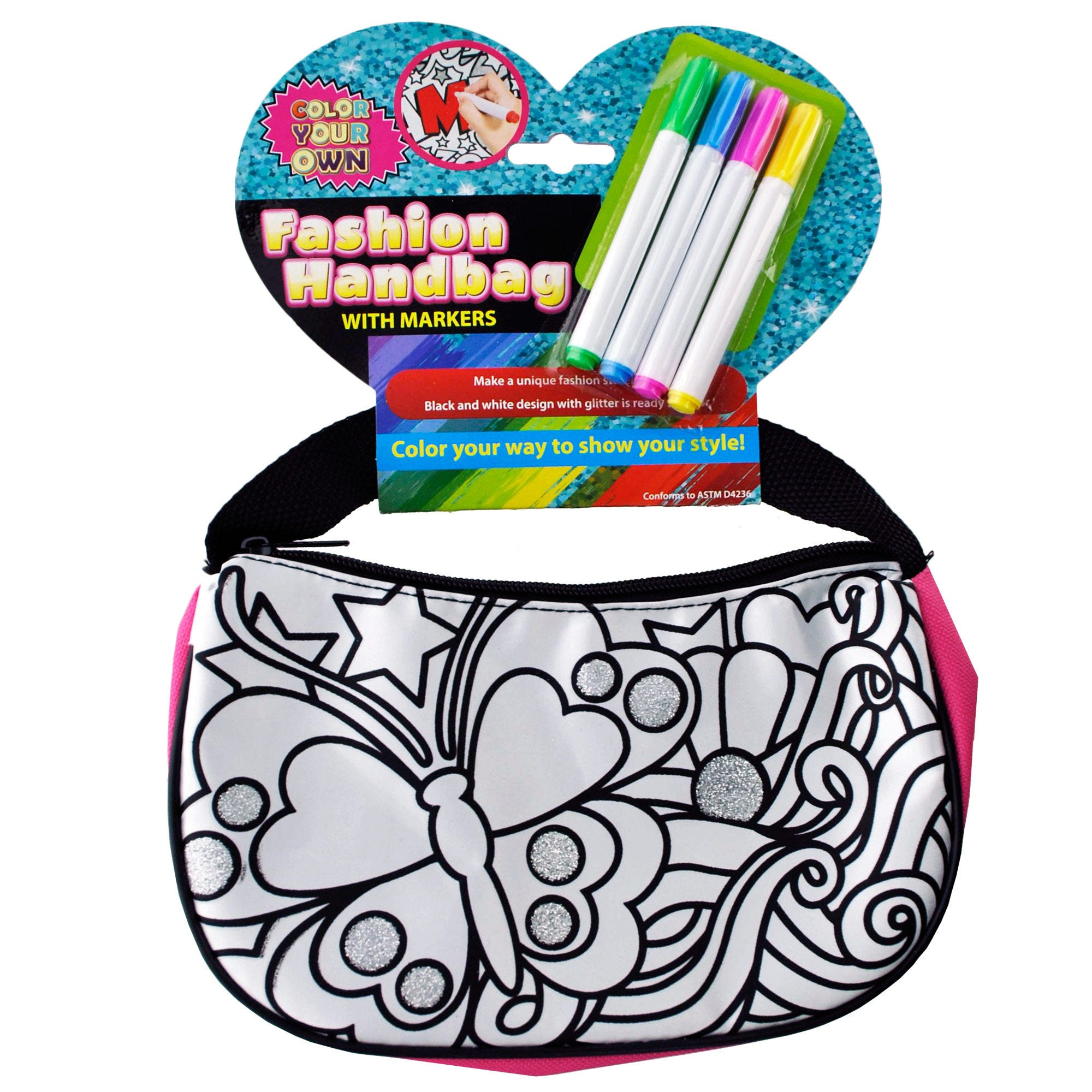 Color Your Own Glitter Fashion HANDBAG with Markers- Qty 6