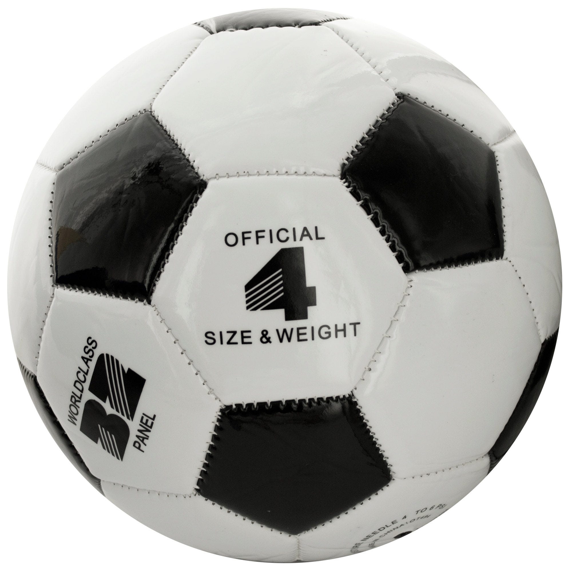 Size 4 Black & White Glossy Soccer Ball- Qty 4