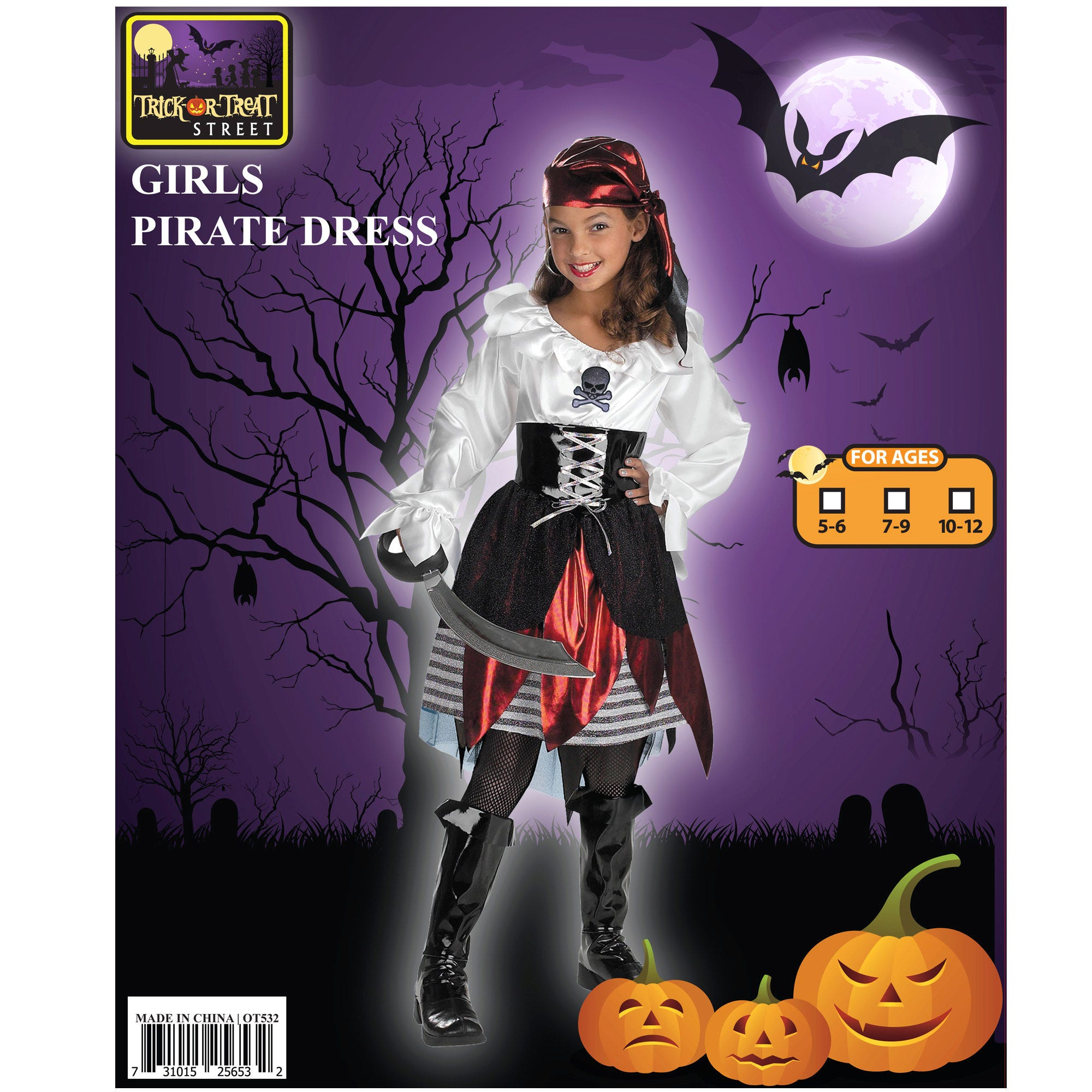 Pirate Girl Headband + DRESS + Belt Costume - Qty 4