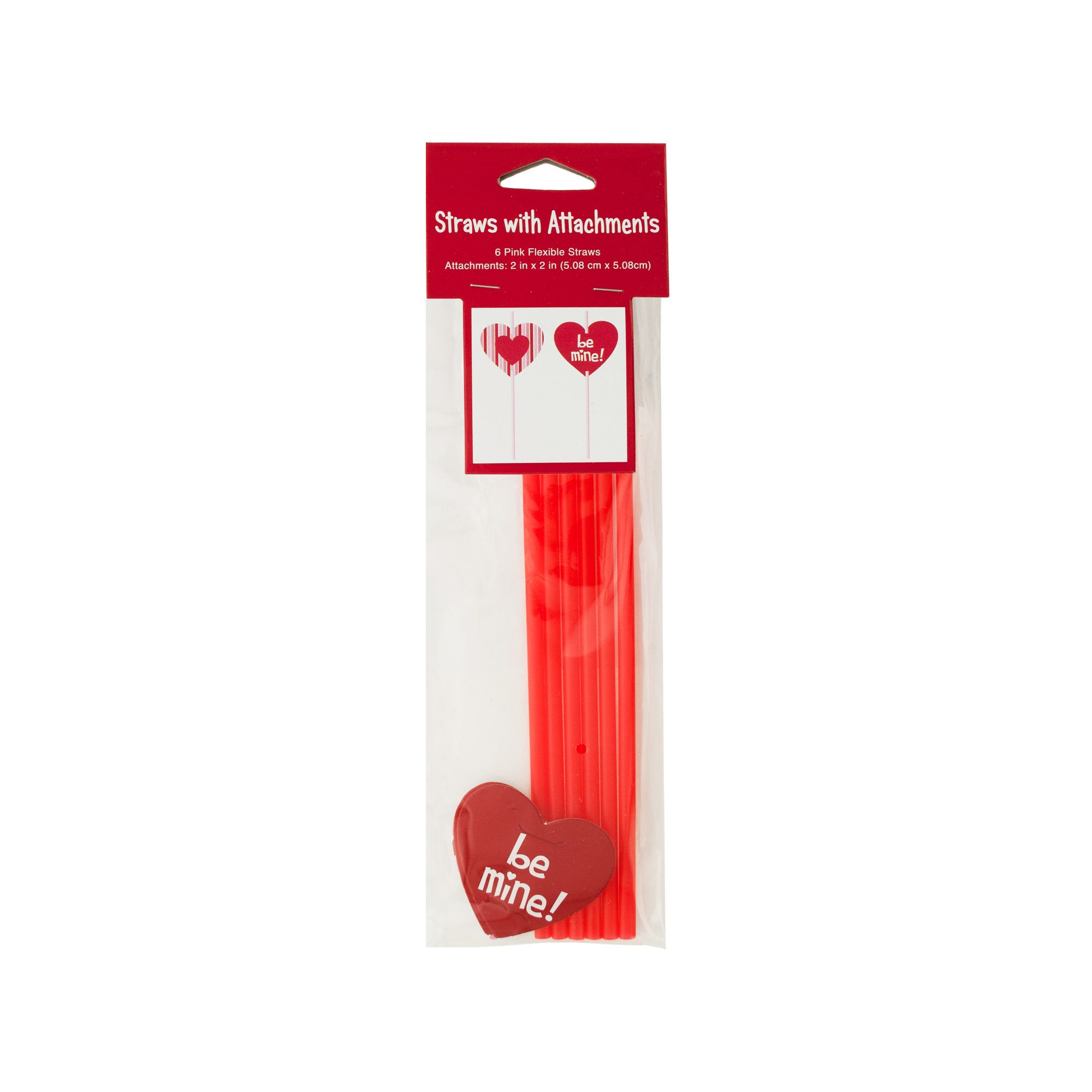 VALENTINE's Day Straws with Heart Attachments- Qty 24