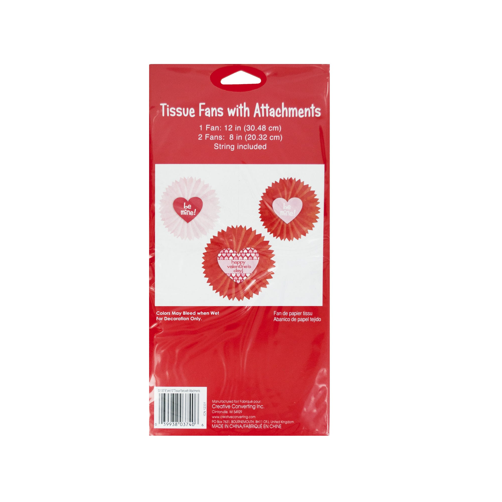 VALENTINE's Day Tissue Fan Hanging Decorations- Qty 24