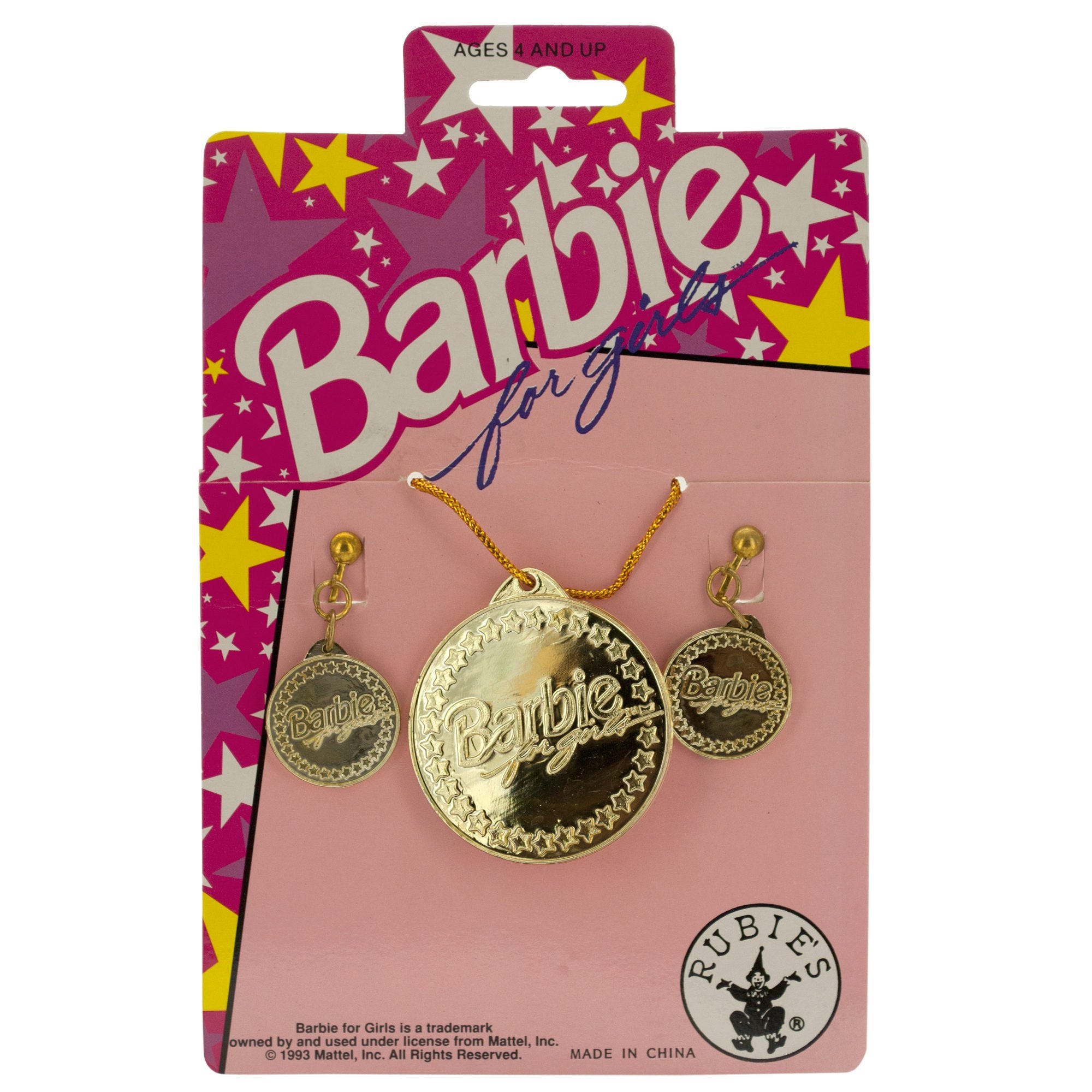 BARBIE for Girls Gold Earrings & Necklace Set- Qty 24
