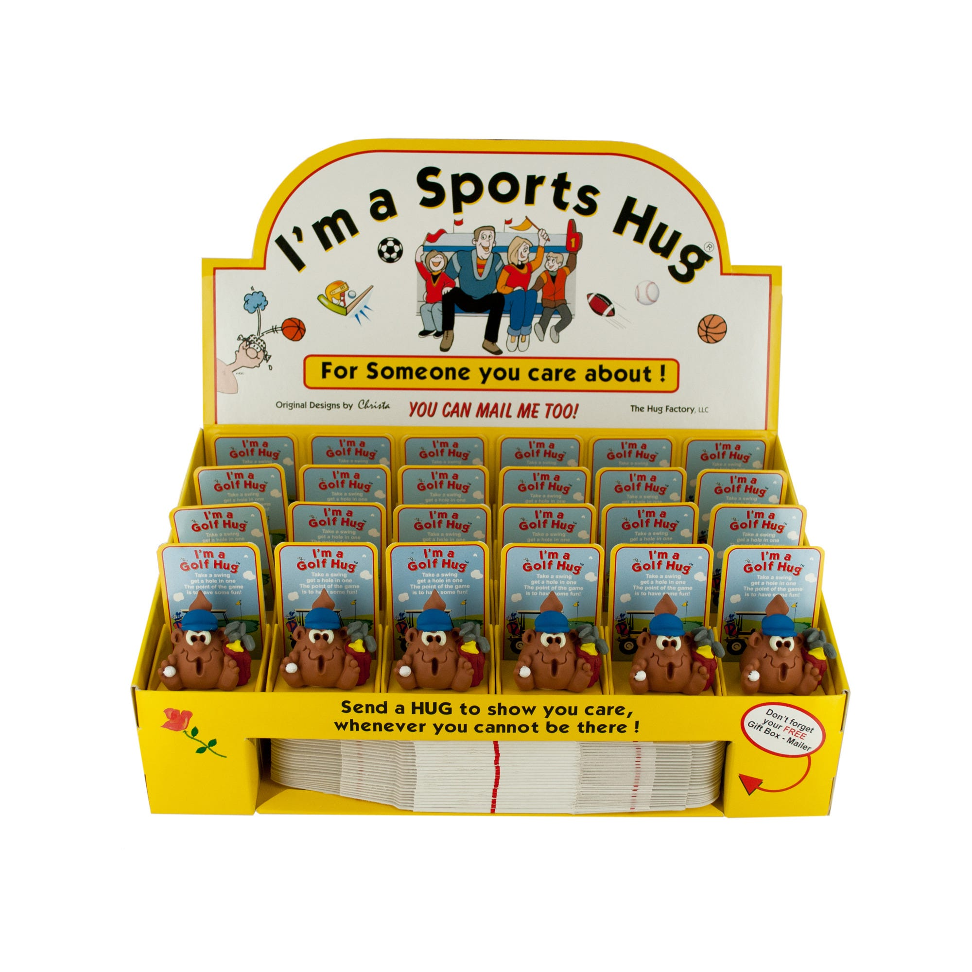 GOLF Hug Figurine with Gift Boxes Countertop Display- Qty 24