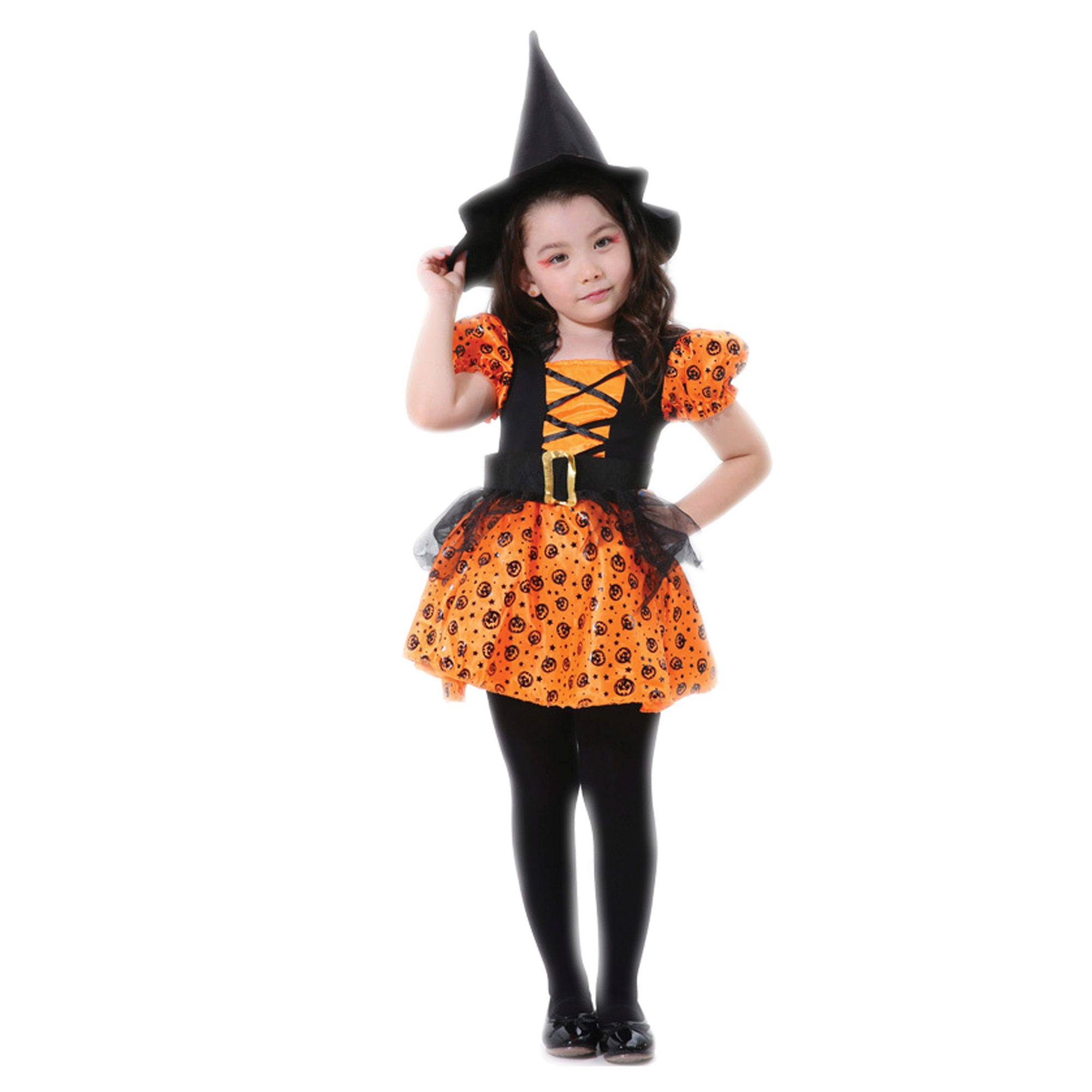 Kids Orange Witch DRESS Costume- Qty 3