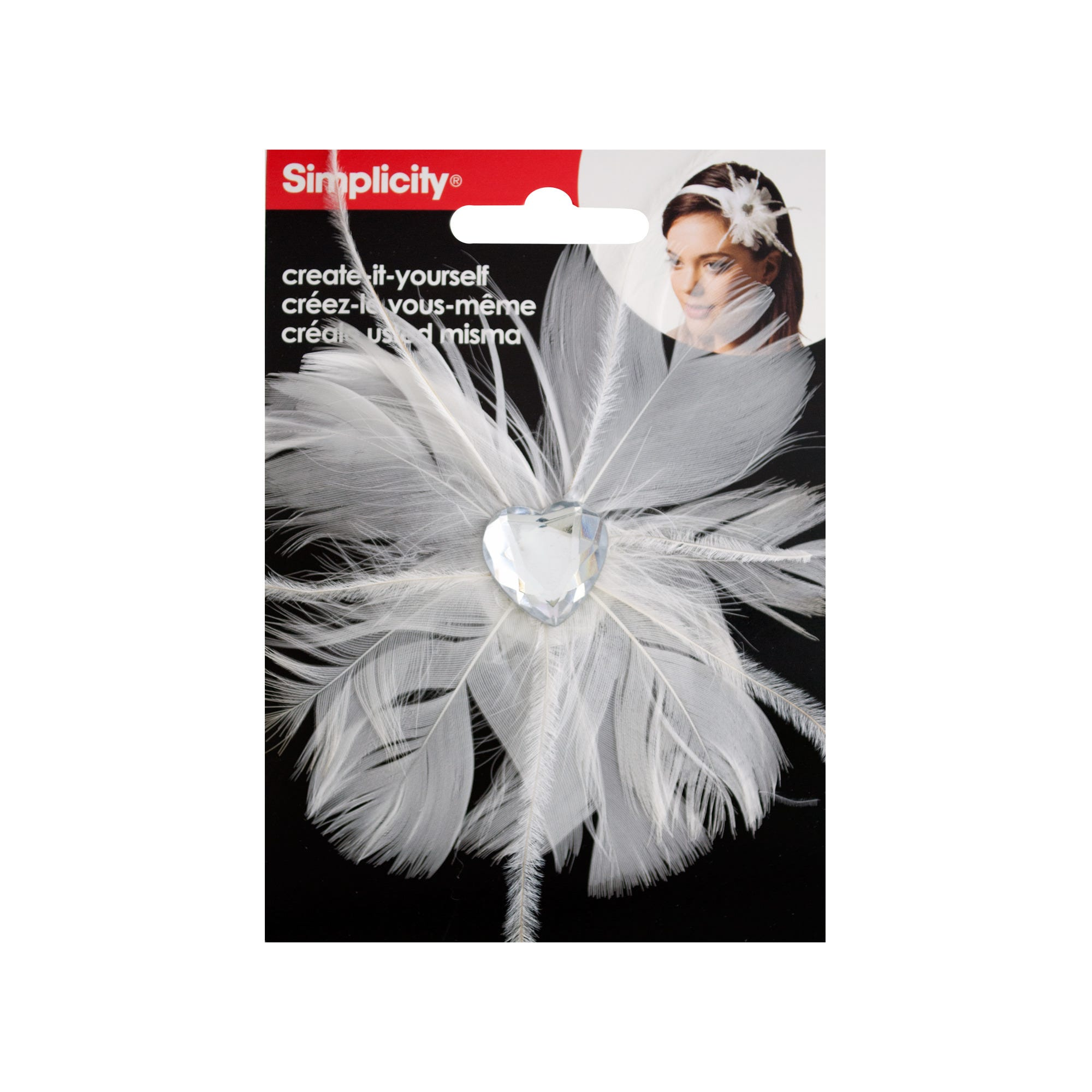 White Feather with Heart Jewel HEADBAND Accent- Qty 24